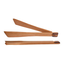 Jonathan's® Spoons - Folding Serving Tong - No more scorched fingers! Use these handy folding tongs to grab corn on the cob, baked potatoes or even boiled lobster. Handcrafted in Pennsylvania from cherry wood, this space-saving design stores easily beside the cooktop, so it's always there when you need it.