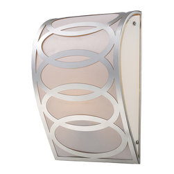 ELK - ELK 10170/1 Wall Sconce - Captivating Arrays Of Ovals Etched Out Of A Single Sheet Of Steel Are Silhouetted By A Light Silver Fabric Diffuser On The Inside Of This Drum Shaped Series.  Completed With An Impeccable Polished Nickel Finish.