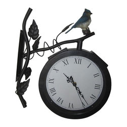 Alpine Fountains - Solar Clock Light - Made of Iron and Plastic. 1 Year Limited Warranty. Assembly Required. Overall Dimensions: 15 in. L x 3 in. W x 14 in. H (3.34 lbs)This skillfully crafted, solar powered clock is the perfect addition to any outdoor patio or deck.  The clock is held on a gorgeous iron branch complete with leaves and a realistic bird perched on top and is lit by an LED light at night.