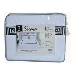 "Serena 3-Piece Cotton Duvet Cover Set, White/Black, King - This Duvet Cover Set features a simple embroidered Greek Key design that brings a classy touch to any bedroom. Set includes one duvet cover 106""x92"" and two pillow-shams 20""x36"" each."