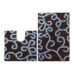 None - Celebration New Scroll Bath Rug and Contour 2-piece Set - Dress your bathroom floor with the Celebration New Scroll large bath and contour rug set. These cotton rugs display an abstract pattern in a spa blue and chocolate finish. They feature a non-skid, no-slip backing and hand-tufted durable construction.