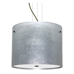 Besa Lighting - Besa Lighting 1KV-4007SF-LED Tamburo 3 Light LED Cable-Hung Pendant - Tamburo is a classic open-ended cylinder of handcrafted glass, a shape that will stand the test of time. Our Silver Foil glass is sparkling and metallic. Distressed metal foil is applied to the inner surface of a glossy clear blown glass. This decor is full of textured and depth, however the outer surface of the glass is smooth. When lit the glass comes to life, as the distressed foil allows glimpses of light to pass through. This blown glass is handcrafted by a skilled artisan, utilizing century-old techniques passed down from generation to generation. Each piece of this decor has its own artistic nature that can be individually appreciated. The cable pendant fixture is equipped with three (3) 10' silver aircraft cables and 10' AWM cordset, and a low profile flat monopoint canopy.Features: