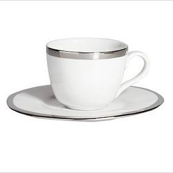 "Caroline Porcelain Cup & Saucer, Set of 4, Silver - Make a celebration even more memorable with a thoughtful gift. Handcrafted with gently uneven rims, our new Caroline Registry dinnerware has understated glamour that's just right for both formal and casual settings. We've wrapped it in a beautiful gift box so it's ready for giving on any special occasion. Dinner Plate: 11"" diameter, 1"" high Salad Plate: 8.5"" diameter, 1"" high Bowl: 9"" diameter, 2"" high; 5.5 fluid ounces Cup: 4.5"" wide x 3.5"" deep x 3"" high Saucer: 6"" diameter Made of porcelain with a glazed finish. Silver trim. Set of 4, choose dinner plate, salad plate, or cup-and-saucer set. Packaged in a beautiful PB storage box. Dishwasher-safe. Read more on our blog about the inspiration behind this product."