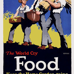 """Keep the Home Garden Going Print - This poster was designed in 1918 by William McKee during World War I for the US Food Administration. It shows three people carrying food and was meant to inspire Americans to """"keep the home garden going""""."""