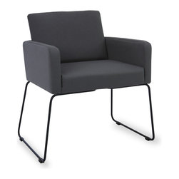Bryght - Delma Paloma Dining Armchair - Clean, modern and dressy, the Delma dining armchair brings a trendy element to the table. A comfortable upholstered seat perfectly offsets sleek metal legs. Choose from a variety of colors for that perfect pop of color.