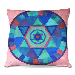 DiaNoche Designs - Pillow Woven Poplin from DiaNoche Designs by Jennifer Baird - Mandala II B - Toss this decorative pillow on any bed, sofa or chair, and add personality to your chic and stylish decor. Lay your head against your new art and relax! Made of woven Poly-Poplin.  Includes a cushy supportive pillow insert, zipped inside. Dye Sublimation printing adheres the ink to the material for long life and durability. Double Sided Print, Machine Washable, Product may vary slightly from image.