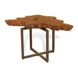 Interlude - Tectona Side Table - Harness the majesty of nature in your home with this gorgeous table. With a tabletop carved from a tree trunk and a perfectly paired iron base, this piece will spruce up the landscape of your living space and leave your guests impressed.