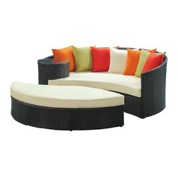 Modway - Taiji Daybed in Espresso Multicolor - Harmonize inverse elements with this radically pleasing daybed set. Seven plush throw pillows adorn Taiji's thick all weather orange cushions allowing for the splendorous blending of mediating elements. Find the key to attainment as you bask in a charged and unified landscape of expansiveness.