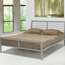 Coaster - Contemporary Queen Size Iron Bed in Silver - Create a casual contemporary feel in your bedroom with this queen iron bed. The clean horizontal lines of the silver metal headboard and footboard offer a relaxed attractive style. Arrange with a matching metal night stand for convenient bedside storage.