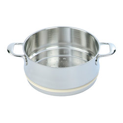 Demeyere - Atlantis Steamer with Silicone Gasket, 3.2 Quart - Stackable and easy-to-clean stainless-steel steamer is the perfect companion for your Demeyere Atlantis pans. Its stainless steel design comes in both a 3.2 and 5.5 quart size. Use this product as a cooking vessel to steam rice, veggies or any other food products that you want steamed. The steamer can be used with all stove types. Its steel handles may get a little hot after cooking, so be sure to use oven gloves before handling the steamer. Dishwasher and oven safe. Made in Belgium.  Does not come with lid.