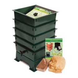 "The Worm Factory® 4-Tray Recycled Plastic Worm Composter - Green - What is The Worm Factory 4-Tray Recycled Plastic Worm Composter - Green and how does it work?This green 4-tray worm composter is a multi-tray compost system that helps manage the composting process and provides you with nutrient-rich compost for your garden. It's easy to set up and simple to use. Fill each stacking tray with kitchen scraps such as newspaper junk mail vegetables fruits egg shells coffee grounds paper and cardboard into nutrient-rich compost for your garden. Most """"Master Gardeners"""" consider worm castings to be the very best compost available. Your plants will thrive with this all-natural compost. Sorting out the undigested scraps can be a messy inconvenient chore with ordinary worm composters. Worms start in the bottom tray and migrate upward as they break down the waste. This allows worms to separate themselves from the finished compost making it easy to add nutrient-rich fertilizer to plants and gardens without sorting worms. Additionally nutrient-rich moisture is captured in the collection tray and can be drained as liquid fertilizer known as """"worm tea"""". What are the benefits of using The Worm Factory? The Worm Factory is Compact: With its square design and having the smallest footprint of all the worm composters The Worm Factory 4-Tray Worm Composter - Green works great for anyone with space requirements. The Worm Factory uses a tray stacking system which allows it to hold the largest capacity of compost in the smallest amount of space. The Worm Factory is Odorless: The ventilation lid allows proper air flow and the instruction manual helps you manage The Worm Factory correctly to prevent odor. This means that it can be used year round and can be housed anywhere including apartments kitchens garages porches etc. The Worm Factory is Easy to Manage: The 16-page instruction manual makes the setup process fast and easy and gives detailed instructions on how manage the bin year round. Each tray holds 12.5 pounds of compost which makes lifting and arranging trays effortless. The ventilation lid also contains a list of composting tips for quick reference. The Worm Factory Saves Time: Let The Worm Factory do the work for you! Instead of spending time turning piles of compost yourself and removing worms by hand the multi-tray system separates the worms from the compost so you don't have to. Also because the worms continually eat through your kitchen scraps and junk mail nutrient-rich compost is produced at a faster rate than traditional ways of composting. In full operation the Worm Factory houses 6 000 worms consumes 5 to 8 pounds of food a week allowing you to harvest a full tray of nutrient-rich castings every month. This allows you to bring rich dark compost to your plants and gardens at a faster rate."
