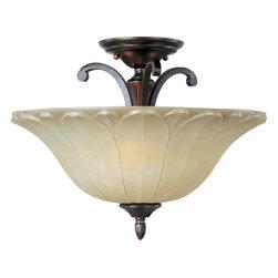 Joshua Marshal - Three Light Oil Rubbed Bronze Wilshire Glass Bowl Semi-Flush Mount - Three Light Oil Rubbed Bronze Wilshire Glass Bowl Semi-Flush Mount
