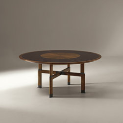 Giorgetti - Giorgetti YLI Round Dining Table - A series of tables with a rectangular, round or square top with the structure in solid walnut canaletto wood.  The mosaic top, with profiles in walnut canaletto wood, is crackle lacquered and is available in white or dark brown colors with matt or shiny finish.  The round top has in the middle a disk in walnut canaletto wood.  The metal foot-caps and the insert of the legs are painted in a bronze color.  Price includes shipping to the USA.  Manufactured by Giorgetti.