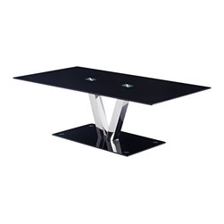 Global Furniture - Global Furniture USA T655 Rectangular Black Glass Coffee Table with Chrome Legs - This contemporary table features a tempered black glass top and base with chrome finished V shaped support and is sure to be the focal point of your living room