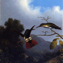 "Martin Johnson Heade Black-Throated Mango - 16"" x 20"" Premium Archival Print - 16"" x 20"" Martin Johnson Heade Black-Throated Mango premium archival print reproduced to meet museum quality standards. Our museum quality archival prints are produced using high-precision print technology for a more accurate reproduction printed on high quality, heavyweight matte presentation paper with fade-resistant, archival inks. Our progressive business model allows us to offer works of art to you at the best wholesale pricing, significantly less than art gallery prices, affordable to all. This line of artwork is produced with extra white border space (if you choose to have it framed, for your framer to work with to frame properly or utilize a larger mat and/or frame).  We present a comprehensive collection of exceptional art reproductions byMartin Johnson Heade."