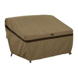 Classic Accessories Hickory Sofa Loveseat Cover - Tan - The Classic Accessories Hickory Sofa Loveseat Cover - Tan is a stylish way to keep your outdoor sofa looking new. Made durable from Weather10 material in handsome tan with Weather Leather trim that resists the elements and looks authentic. Large air vents prevent mold and mildew and wind lofting. Click-close straps secure your cover on windy days and an adjustable elastic hem cord ensures a customized fit. Padded handles ensure easy removal. This cover includes a manufacturer's limited lifetime warranty. Size Options: Small:Fits bench, sofa, or loveseat up to: 58L x 32.5W x 31H in.Medium: Fits bench, sofa, or loveseat up to: 76L x 32.5W x 33H in.Large: Fits bench, sofa, or loveseat up to: 88L x 32.5W x 33H in.About Classic AccessoriesFounded from small beginnings, Classic Accessories has grown in the past 30 years from a small basement operation in Seattle's Roosevelt neighborhood making seatbelt pads and steering wheel covers, to a successful and expanding company now making a wide variety of products from car to boat covers and much more. Innovative, stylish designs define products that are functional and made to last. From little details to the largest innovations, Classic Accessories is always moving forward and looking to provide cover and storage solutions to a clientele that has a passion for the outdoors, from backyard gatherings to exciting camping trips, Classic Accessories provides the products that keeps your equipment looking great all season long.