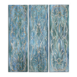 Uttermost - French Quarter Trellis Wall Panels Set of 3 - Frameless, hand painted artwork on canvas that has been stretched and attached to wooden stretching bars. Due to the handcrafted nature of this artwork, each piece may have subtle differences.
