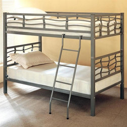 Coaster - 60 in. Twin Over Twin Bunk Bed - This stylish metal frame bunk bed offers unique wave design rails to add a touch of fun to your sleep space.  It�۪s easy conversion to two separate beds makes this bed highly versatile and allows children to grow into sleeping on the top bunk.  Contemporary style and modern construction create a cool bunk bed for your room.  Mattresses sold separately.  The metal frame is great looking and of high quality, made of metal, and is made even more attractive by the wavy pattern that goes along the top bunk. * Mattresses not included. Twin over twin bunk bed. Metal frame. Dark silver color. Attached ladder. Requires two 9 in. thick twin mattresses. Casual style. Side rails and guard rails. 78.5 in. L x 42 in. W x 60 in. H. Warranty. Bunk Bed Warning. Please read before purchase.. NOTE: ivgStores DOES NOT offer assembly on loft beds or bunk bedsThe unique designs of this twin bunk bed will bring contemporary charm to your child's bedroom. Whether you seeking space saving features or simply a fun and attractive piece, this twin bunk will give your child's bedroom an updated look.