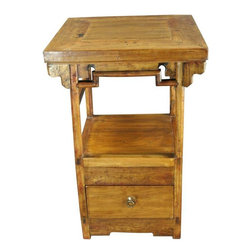 Pre-owned Antique Chinese Accent Table - A rustic Antique Chinese Small Accent Table ( Nightstand or Bedside Table) dating to 1900 in elm from the Shanxi Province, that was originally used as a kitchen stove.     Overall Condition is Restored. Shows normal wear to the finish and miscellaneous nicks, dings, and scratches due to age and use. This piece was originally used as a stove in a Chinese home. The top panel has been replaced with old wood and the piece has been professionally refinished with a clear coat.