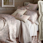 Lili Alessandra - Lili Alessandra Mackie King Sham - These blush and taupe print linens can go in the washer. They only look and feel as if they're made of silk. Battersea quilted coverlets with mini ruffle are available in Taupe or Ivory; select color when ordering. Greek-key pillows are hand appliqued...