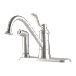 Price Pfister - Pfister GT34-3PS0 Portland One Handle Kitchen Faucet With Spray - Price Pfister GT34-3PS0 is a Portland Series 3-Hole Single Lever Handle kitchen faucet with Matching side spray.