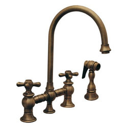 Whitehaus Collection - Pewter Whitehaus WHKBCR3-9101 Deck Mount Bridge Kitchen Faucet with Side Spray - Charming historical designed deck mount bridge kitchen faucet with side spray by Whitehaus is great addition to wide range of traditional kitchen styles. Matching side spray will make it easy for you to wash dishes of any size, prepare food. High arch goose neck allows water flows smoothly. The two cross lever handles allows easy control of water pressure and temperature.