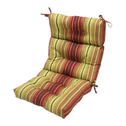 None - 44x22-inch 3-section Outdoor Kinnabari Stripe High Back Chair Cushion - Color: Maroon/green Materials: 100-percent polyester Fill: Poly-fill material  Chair not included