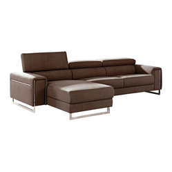 VIG Furniture - 1162B Brown Microfiber Fabric Sectional Sofa With Adjustable Headrests - The 1162B sectional sofa will be a great addition to any living room decor that need's a touch of modern design. This sectional comes upholstered in a beautiful brown microfiber fabric. High density foam is placed within the cushions for that extra added comfort. The sectional features adjustable headrests for that extra touch of relaxation. Attached to the bottom are stainless steel legs with a polished finish.