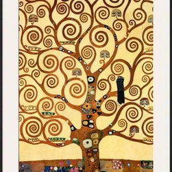 Artcom - The Tree of Life, Stoclet Frieze, c.1909 by Gustav Klimt - The Tree of Life, Stoclet Frieze, c.1909 by Gustav Klimt is a Framed Art Print set with a Ronda II Black wood frame and a Polar White mat.