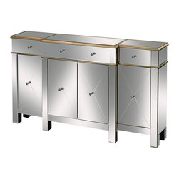 Sterling Industries - Bordeaux Mirrored Buffet Server - This mirrored server stands 60� in length. Crystal handles set in the center of each drawer and edged in hand painted antique gold, this piece adds a touch of glam to any chic Decor sensibility.