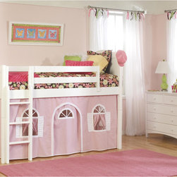 None - Cottage White/ Pink Low Loft Bottom Playhouse Curtain and Ladder Twin Bed - The Cottage low loft bed features classic flat panels with wainscot detailing and white finish. Great for a young child's bedroom,this bed increases room size for greater storage capacity or for more room for your child to play.