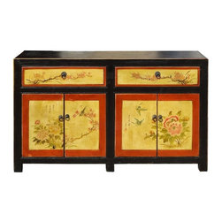 Golden Lotus - Oriental Flower Birds Graphic Double Doors Cabinet - This is a decorative oriental accent side table with simple black outside body color. The doors and drawers are painted with yellow base flower and birds graphic.