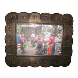 """Metal Mexican Frame - Handmade tin frame with a nice rust patina, the space for a photo is 6 1/2"""" x 4 1/2"""", over all the size is 10"""" x 8"""". Has an easel stand & can be hung as well."""