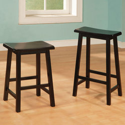"Coaster - 29"" Bar Stool in Black, Set of 2 - This simple stool has a curved wooden seat, and sleek square legs. The stool is available in black finish.; Transitional Style; Finish: Black; No assembly required.; Dimensions: 13.5""L x 17""W x 29""H"