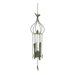 iMax - iMax Utensils Green Wind Chime - This wistful wind chime features a green color and pleasant light hearted sound. Perfect for any porch or patio to collect the wind and deliver peaceful sound with hanging kitchen utensils.