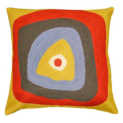 "Modern Wool - Kandinsky Pillow Cover Ruby Square Needlepoint Hand Embroidered 18"" x 18"" - Kandinsky pillow Cover Ruby Square - The ruby center and outlying band of this modern cushion based on the work of influential Russian painter, Wassily Kandinsky, reminds us of his own words, ""[T]his uniformity of red is not the most beautiful hour. It is only the final chord of a symphony that takes every color to the zenith of life…"" Truly, the contrast of the sanguinity against the gold, sepia, blue, and stark white makes a bold statement. This cushion deserves to be the center of attention in your décor. The expert needlework of the Kashmir craftsmen flows with each band creating not only eye appeal but a delightful tactile experience as well."