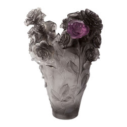 Daum Crystal - Daum Crystal Flower Magnum Vase Vase Purple 05106-6 - Daum Crystal Flower Magnum Vase Vase Purple 05106-6 * FULLY AUTHORIZED DAUM DEALER * Size: 20.8 Inches High * Limited To 50 Pieces Worldwide * Made By Hand In France * Kiln Fired For 10 Days * Every piece is unique, no two Daum crystals are exactly alike. * Since 1878 Daum Crystal has been the ultimate in luxury.