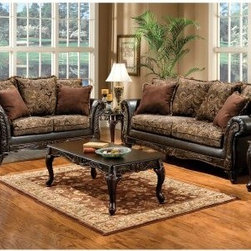 Furniture of America Doria Fabric and Leatherette Furniture - Floral Brown / Esp - Bring traditional elegance into your home with the Furniture of America Doria Fabric and Leatherette Furniture - Floral Brown / Espresso. Adorned with rolled arms and an intricate wood trim, this stunning set is upholstered in smooth leatherette in a gorgeous espresso finish. Its durable solid wood frame is built to last through years to come. Each floral brown cushion is filled with resilient foam cores that provide uniform seating, lasting support, and comfort. The sophisticated design of these furniture pieces come included with accenting toss pillows that complement its style.Dimensions:Loveseat: 68W x 35D x 37H in.Sofa: 90W x 35D x 37H in.About Furniture of AmericaFurniture of America has over 20 years experience in the furniture industry. They have facilities in California, Georgia, and New Jersey. Furniture of American strives to provide a comprehensive selection of home furniture at competitive prices. They feature a wide variety of bedroom collections, youth furniture, dining room sets, upholstery, living room furniture, accents, upholstery, and more. Furniture of America offers, more value for less, always!