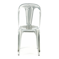 Industry West - Marais Vintage-Style Chair, Galvanized - This European style bistro chair dates back to 1926 and was originally manufactured by Les Meubles Multipl's in Lyon, Paris. This industrial metal style was immensely popular in Belgium and France in the early 20th Century and is even more popular today, being one of the most coveted styles of chairs by antique aficionados. Our Marais Vintage Chair is available in several antique finishes and powder coated color. The intricate welding and machine work showcase its classic design.