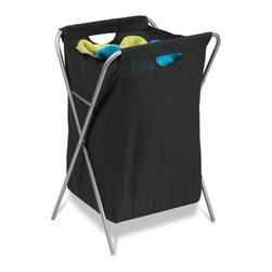 Fold Up Nylon Hamper - Honey-Can-Do HMP-01635 Folding Xframe Hamper, black. A sleek laundry solution, this black and matte steel x-frame hamper has a foldable frame.  When not in use, this hamper folds to flat so it can be quickly and easily moved or stowed away.  The nylon cloth bag features built in handles for carrying full loads to the laundry room. The steel frame is both sturdy and rust-resistant.