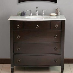 "Virtu USA 36"" Venice - Espresso - White Marble Single Sink Bathroom Vanity - The Venice bathroom vanity features a curved line design. The vanity offfers two large bottom drawers and two smaller top drawers. The Venice comes complete with matching elegant mirror design that will take your breath away. http://www.tatarishop.com"