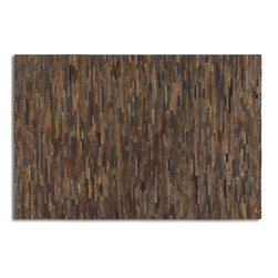 Uttermost - Uttermost Malone 8 x 10 Patchwork Rug 71049-8 - Stitched Together Strips Of Rescued Rust Brown Leathers.