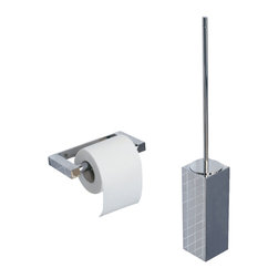 WS Bath Collections - WS Bath Collections Metric Wall Toilet Brush Holder in Brushed Stainless Steel - High Quality Designer Bathroom Accessories