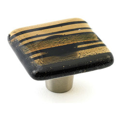 "Windborne Studios - Classic Glass Knobs and Pulls, Bronze Stripe, 1.5"" Square - Classic Collection is affirmation of distinguished simplicity."