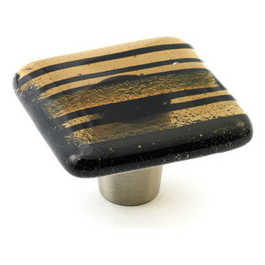 """Windborne Studios - Classic Glass Knobs and Pulls, Bronze Stripe, 1.5"""" Square - Classic Collection is affirmation of distinguished simplicity."""
