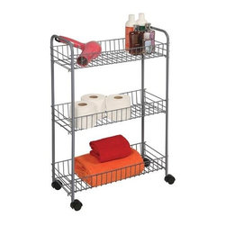Richards Homewares - Silver Wire Cart with Wheels, 3-Tier, Medium - Wire shelves make it easy to store and find items. Great for laundry room, bath rooms, and pantries. Rolls anywhere on easy glide castors. Accessories not included.