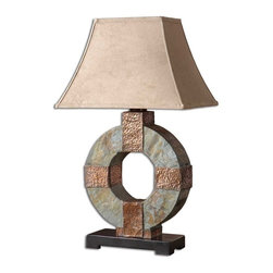 Uttermost - Uttermost Slate Table Lamp - Uttermost Barranda Red Lamp is a part of Uttermost Collection Lightly distressed burgundy ceramic with plated coffee bronze metal details. The rectangle bell shade is a silken champagne fabric. Lamp (1)