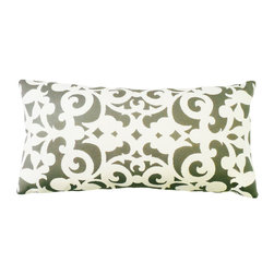 """kee design studio - Arabesco Lumbar Pillow, Thunderstorm - """"Arabesco"""", an original pattern by Kee Design Studios, is a modern take on a traditional scroll work motif. It is printed on a lovely cotton/linen blend fabric, has a knife-edge finish and an invisible zipper. It features a full and fluffy 10/90 white goose down insert."""