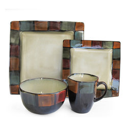 American Atelier - American Atelier Hopscotch Ivory 16-piece Dinnerware Set - With an ivory interior and a colorful border of mosaic squares,these American Atelier dinnerware pieces will set your dinner table aglow with color. These Hopscotch plates,bowls and mugs offer service for four in a 16-piece set of earthenware.