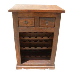 Wood Liquor Wine Bar Bottle Holder Storage Rack Stand - Quaint Natural Wood Wine Cabinet with a wine rack that can hold up to 15 bottles and 2 drawers to hold all your necessities.